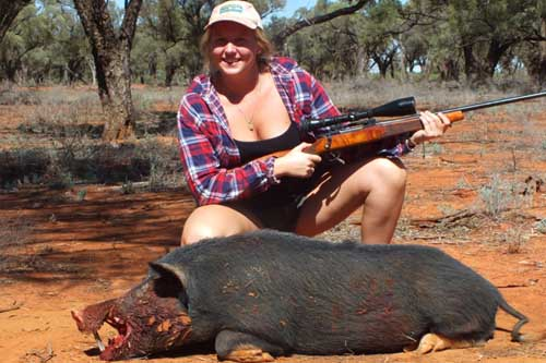 More and more women are going pig hunting